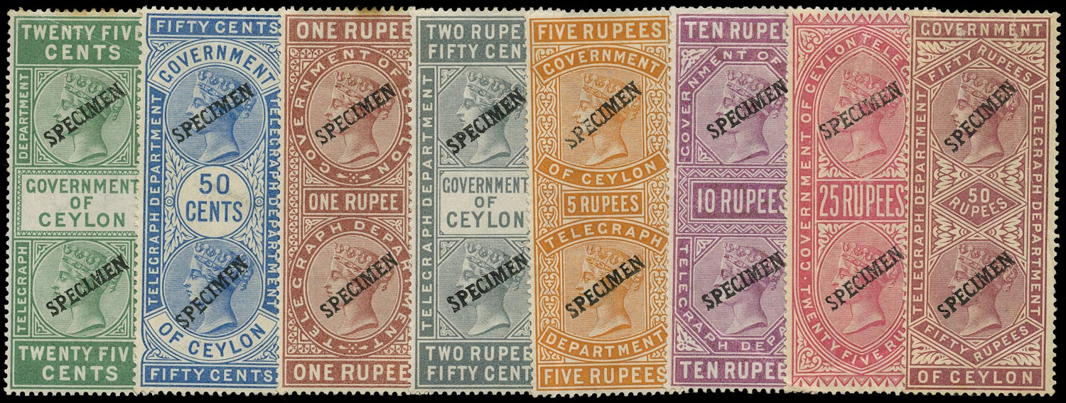 CEYLON 1881  SGT11/21 btwn Specimen QV Telegraph stamps 25c to 50r with small seriffed overprint