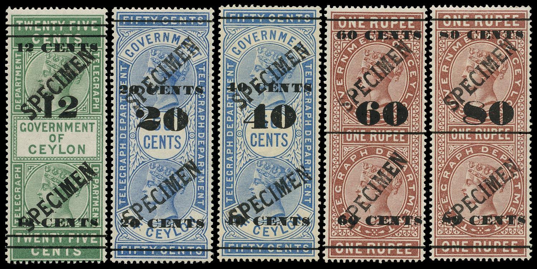 CEYLON 1882  SGT24a, T33, T47, T72, T90 Specimen QV Telegraph stamps with large seriffed overprint