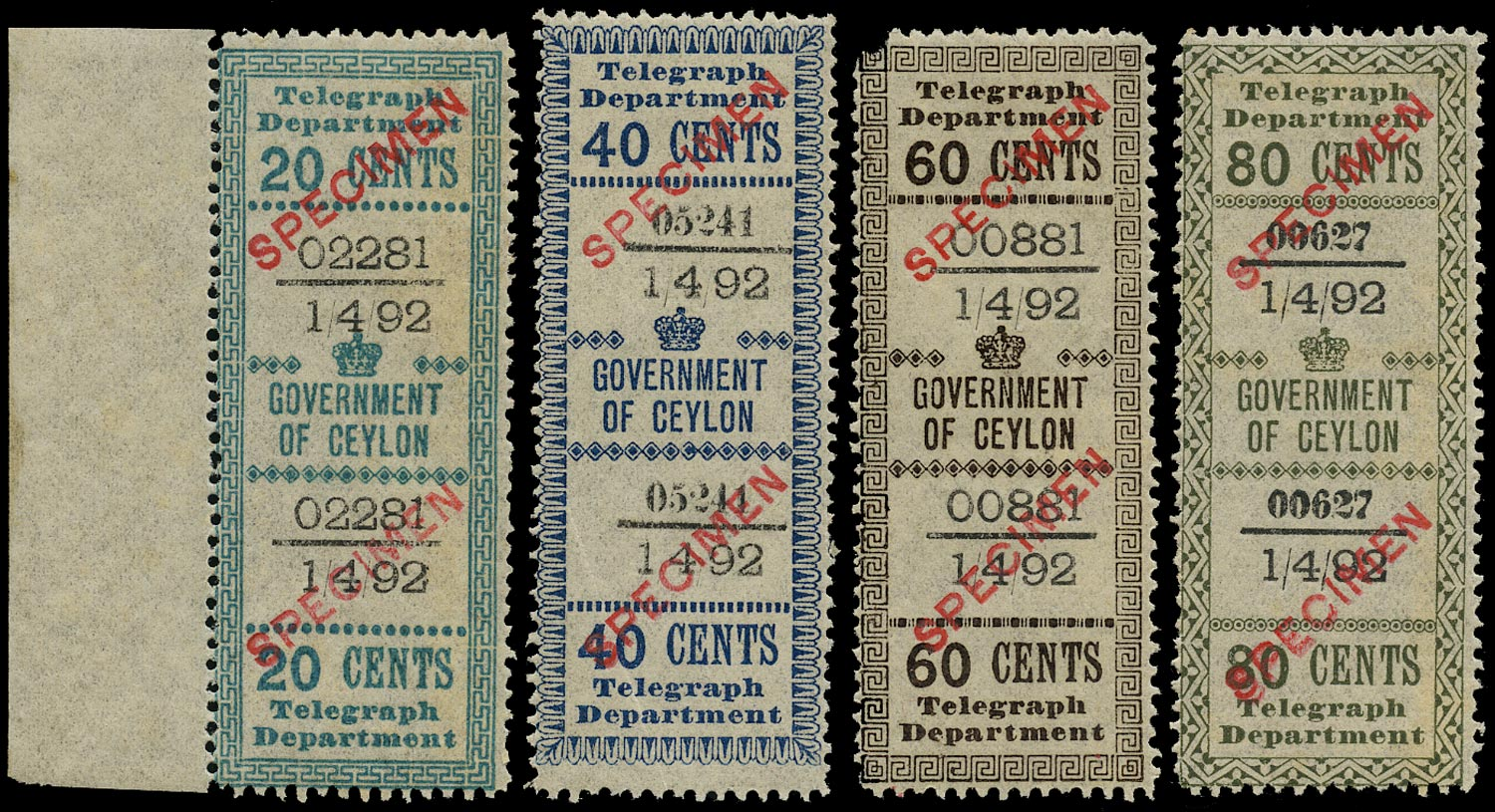 CEYLON 1882  SGT127, T128a, T129, T130a Specimen QV Telegraph stamps local issue set of 4 with sans-serif overprint in red