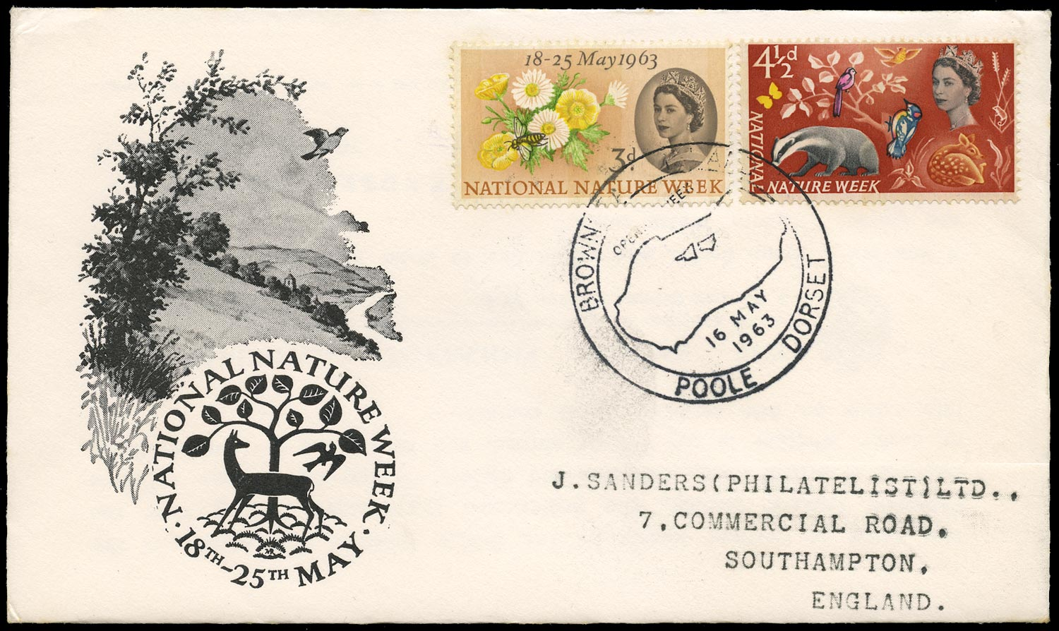 GB 1963  SG637/8p Cover National nature week FDC