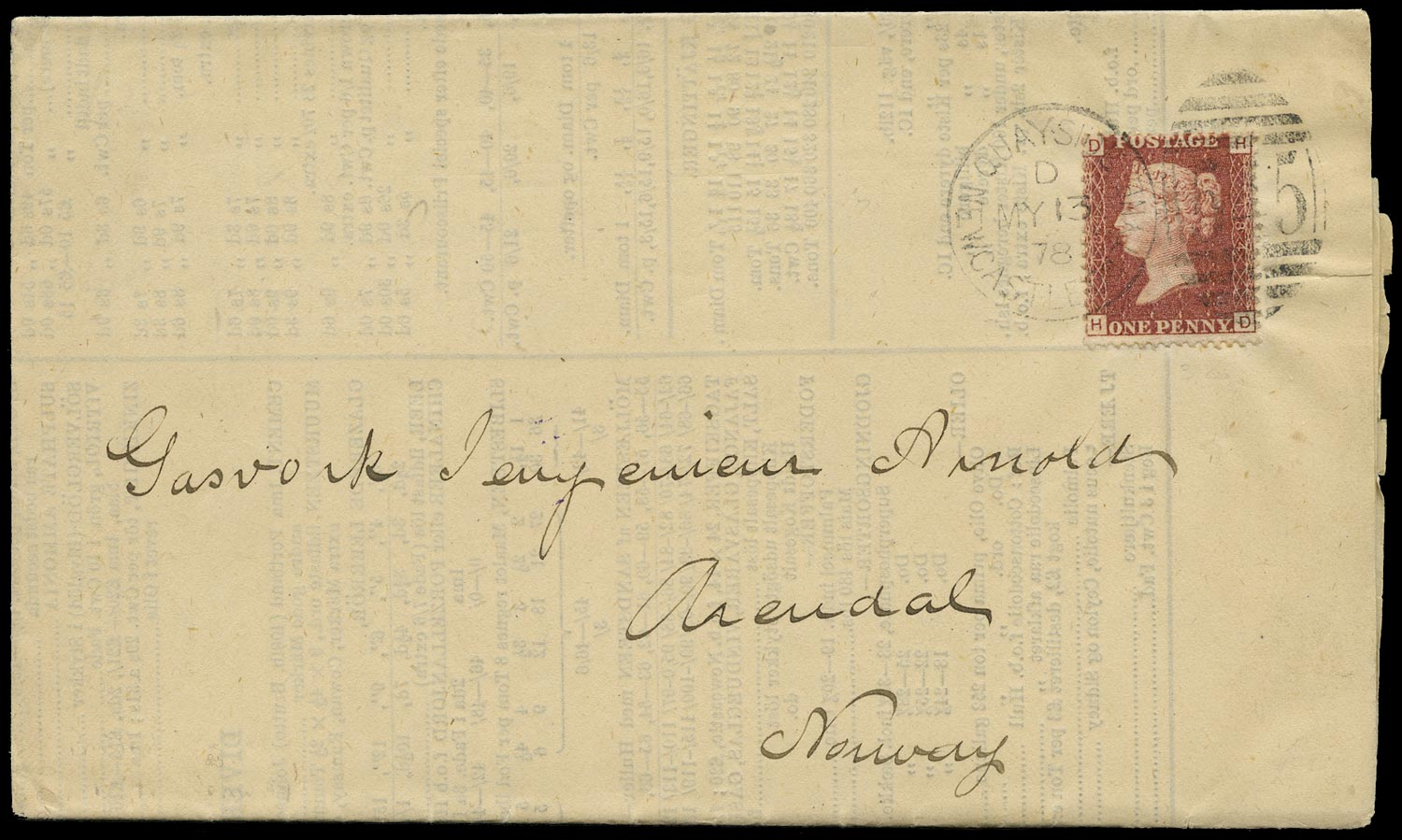 GB 1878  SG43 Pl.184 Cover - Printed matter rate to Norway