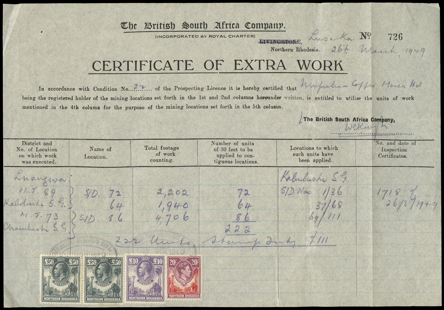 NORTHERN RHODESIA 1925 Revenue £50 Grey used on Document