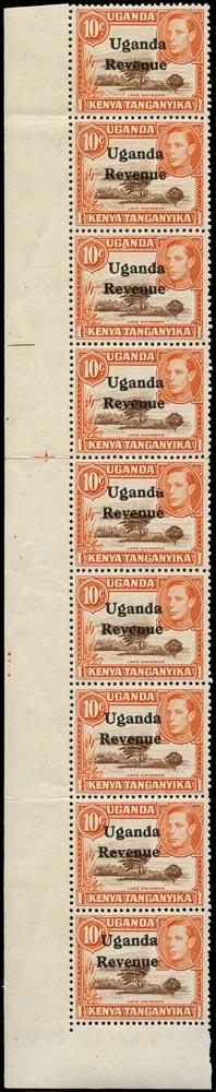 UGANDA 1938 Revenue 'Broken A' variety