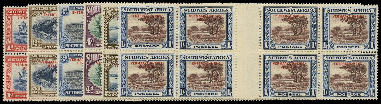 SOUTH WEST AFRICA 1937 Revenue Entertainment Tax interpanneau set