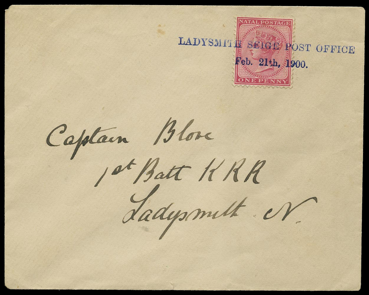 NATAL 1900 Cover Ladysmith Siege Local cover
