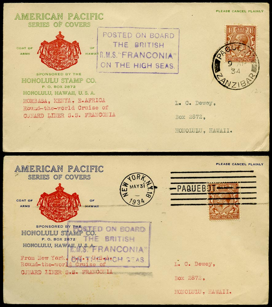 GB 1934  SG420 Cover  Round the world covers to Honolulu