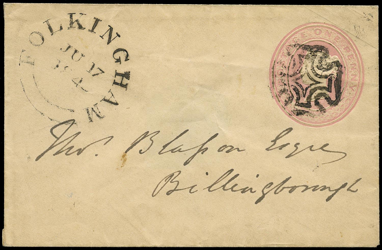 GB 1841 Cover - 1d pink envelope