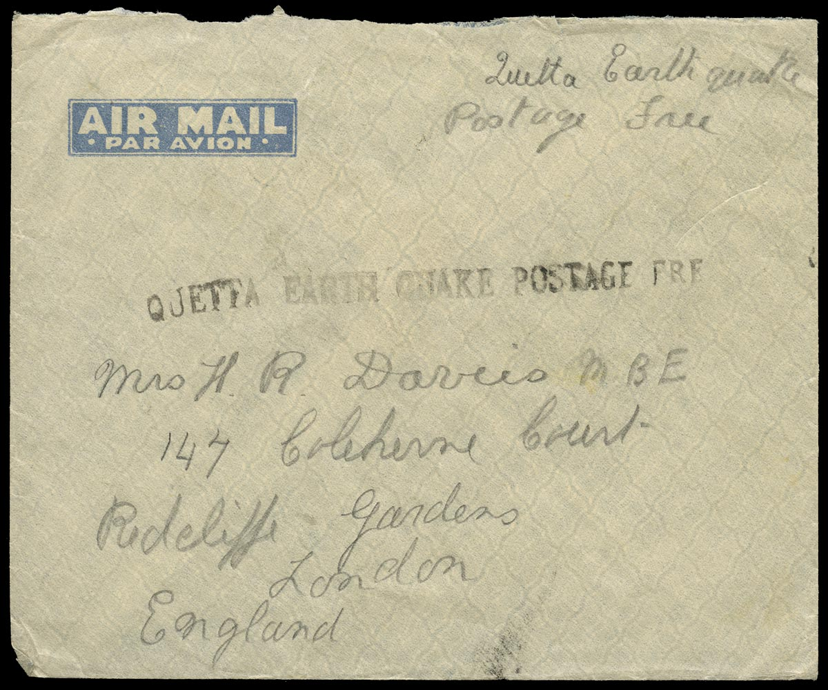 INDIA 1935 Cover Quetta Earthquake Disaster Mail