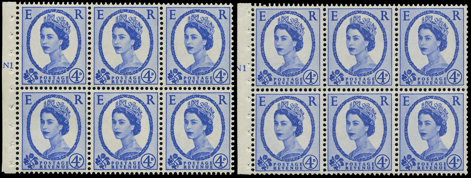 GB 1965  SG576al Booklet pane - N1(T) (Dot and No dot) cylinder panes