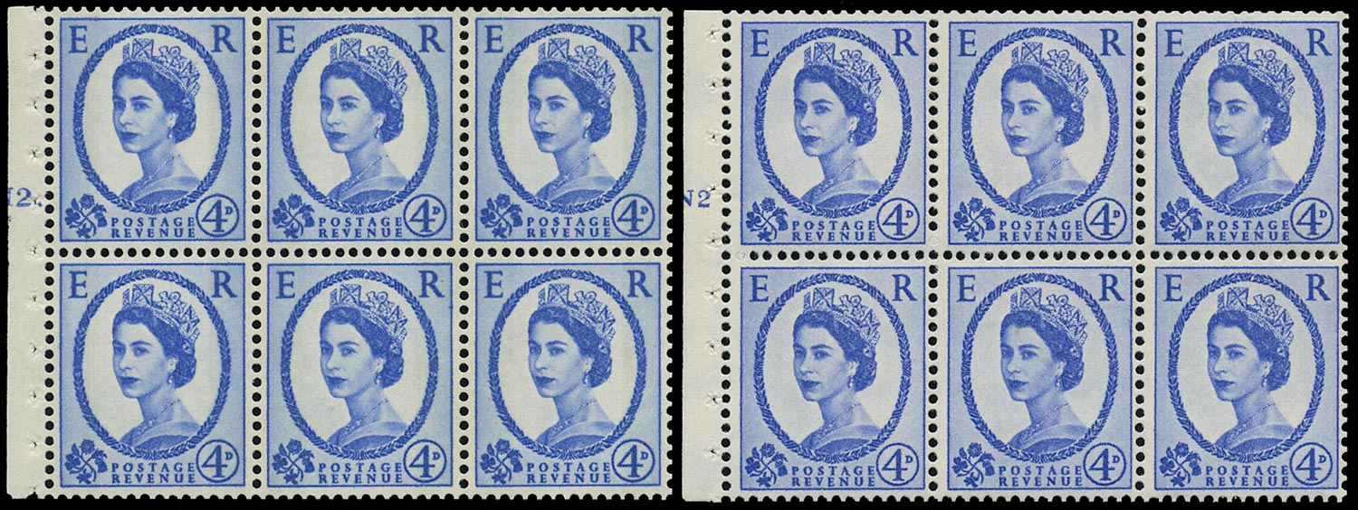 GB 1965  SG576al Booklet pane - N2(T) (Dot and No dot) cylinder panes