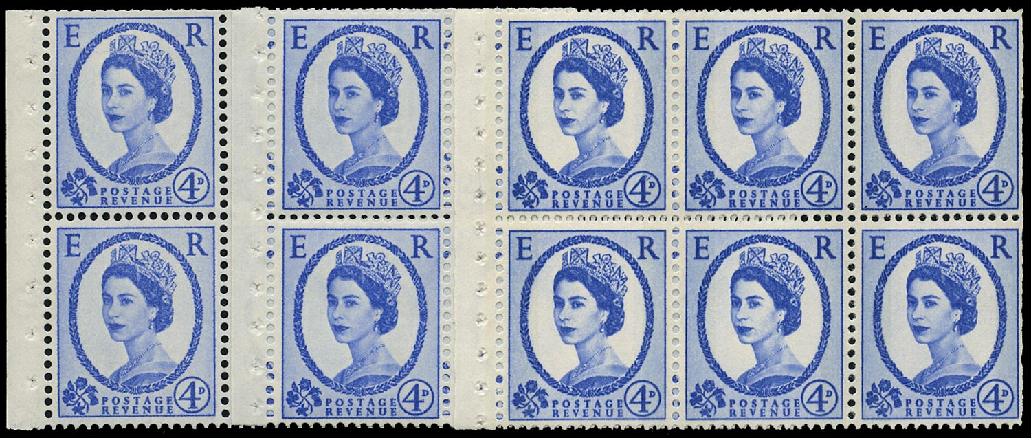 GB 1965  SG576al Booklet pane - listed varieties SB105d+e and SB105ab