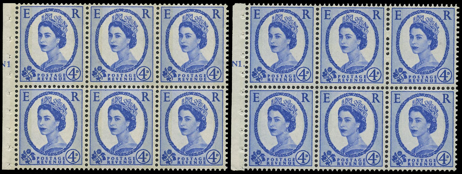 GB 1965  SG616al Booklet pane - N1T (Dot and No dot) cylinder panes