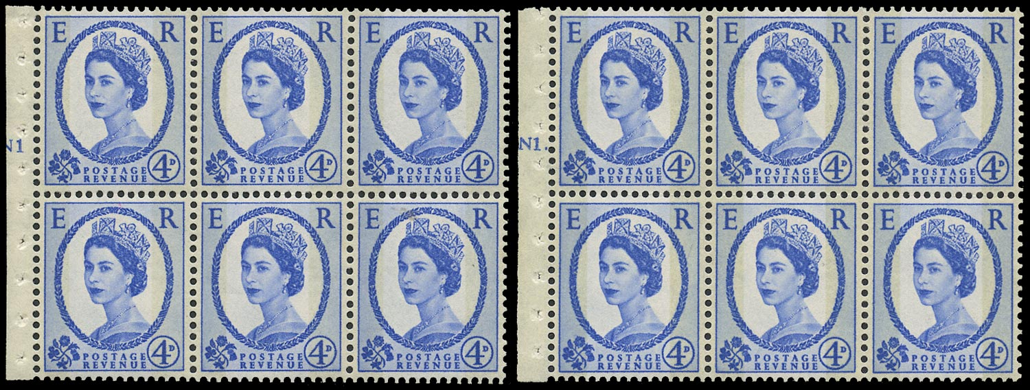 GB 1967  SG616al Booklet pane - N1T (Dot and No dot) cylinder panes