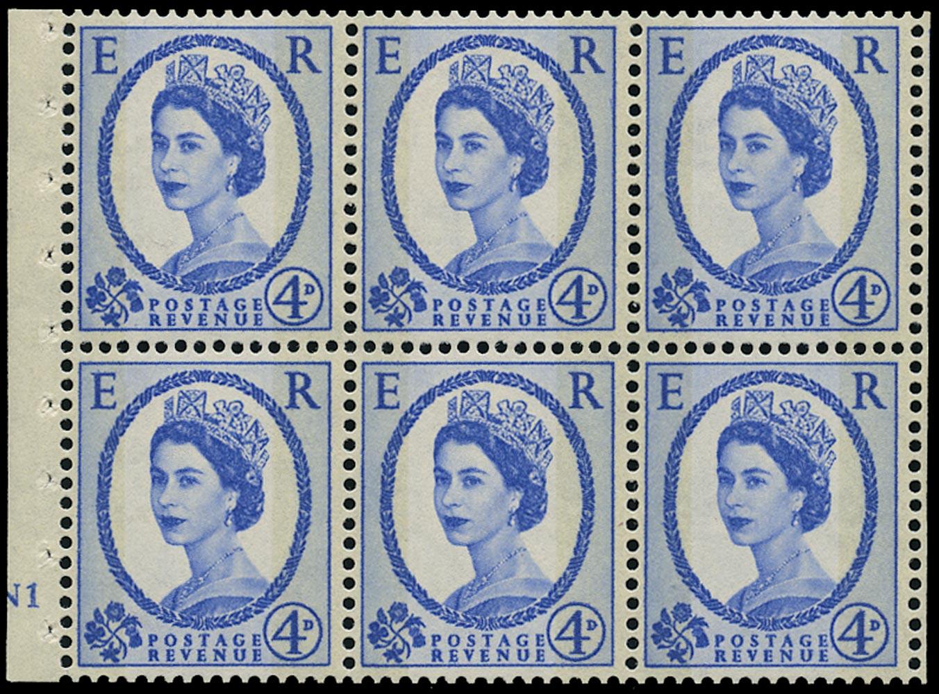 GB 1967  SG616al Booklet pane - N1 No Dot pane with 'Y' flaw