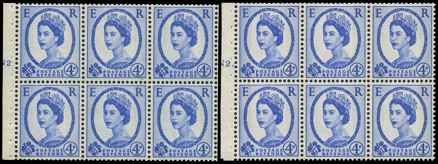 GB 1967  SG616al Booklet pane - N2T (Dot and No dot) cylinder panes