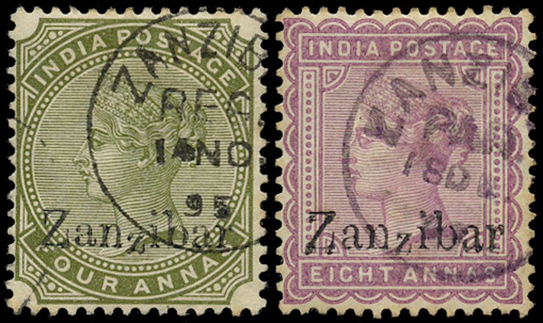ZANZIBAR 1895  SG11D, 14D Cancel