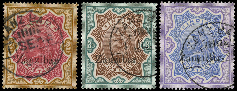 ZANZIBAR 1895  SG19/21 Used