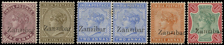 ZANZIBAR 1895  SG4G/6G, 10G, 18G Mint