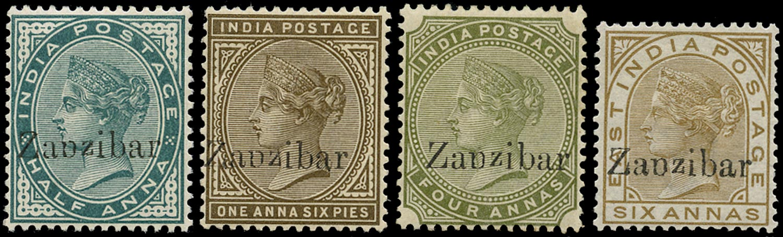 ZANZIBAR 1895  SG3B, 5B, 12B, 13B Mint