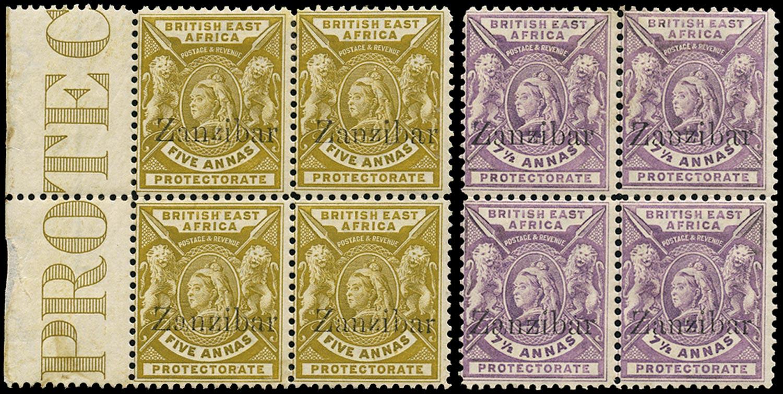 ZANZIBAR 1896  SG45/B/D, 46/B/D Mint