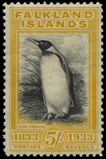 FALKLAND ISLANDS 1933  SG136 Mint Centenary 5s black and yellow Penguin