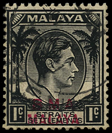 MALAYA - B.M.A. 1945  SG1ab Used KGVI 1c black variety overprint in magenta