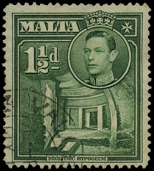 MALTA 1948  SG237ba Used KGVI Self-Government 1½d green variety OVERPRINT OMITTED