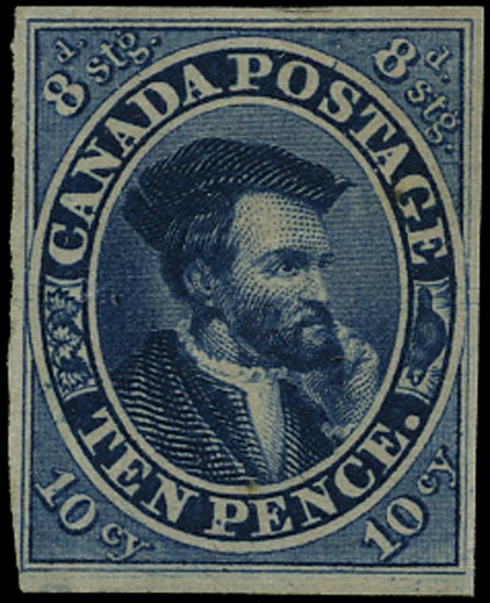 CANADA 1852  SG20 Mint 10d Cartier bright blue on medium machine-made paper