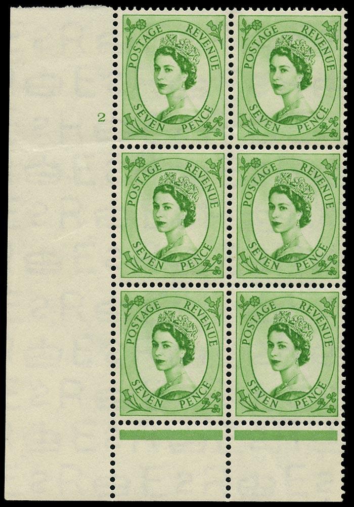 GB 1954  SG524 Mint - Cyl.2 Perf type B block of six