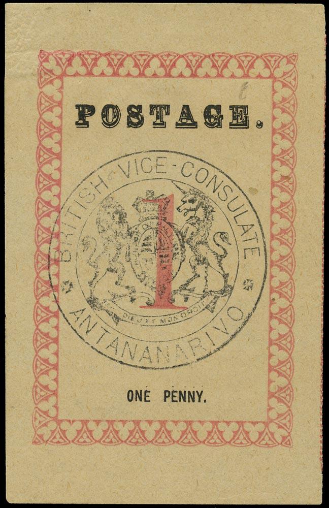 MADAGASCAR (BRITISH) 1886  SG14 Mint 1d rose with British Vice-Consulate handstamp in black