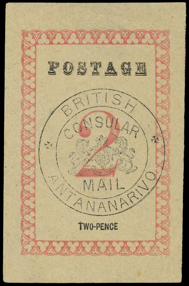 MADAGASCAR (BRITISH) 1886  SG35 Mint 2d rose with Consular Mail handstamp in black