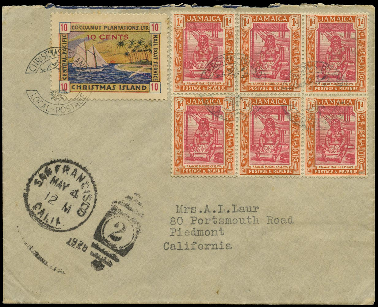 GILBERT & ELLICE IS 1935 Cover from Christmas Island to USA with 10c Yacht in combination with Jamaica