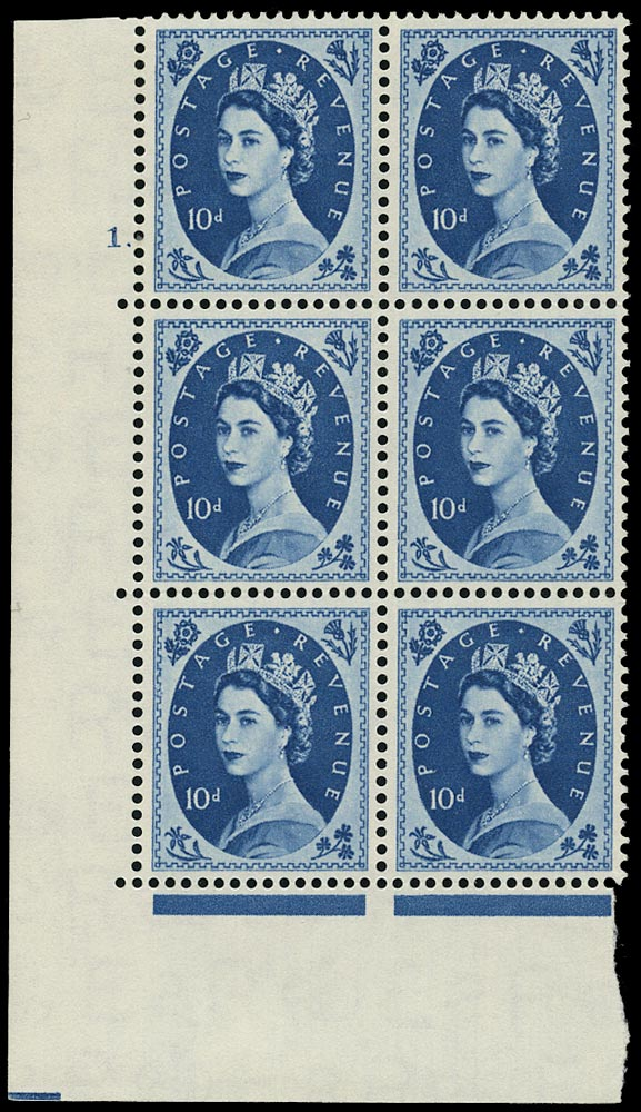 GB 1955  SG552 Mint - Cyl.1. Perf type A block of six