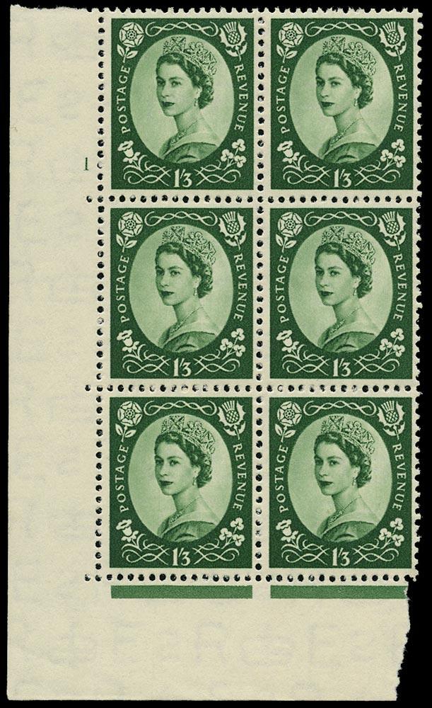 GB 1953  SG530 Mint - Cyl.1 'No dot' Perf type A block of six