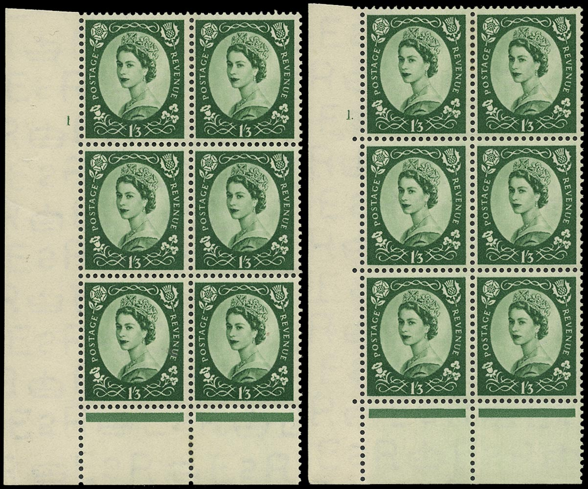 GB 1953  SG530 Mint - Cyl.1 'Dot' and 'No dot' Perf type B+C blocks of six