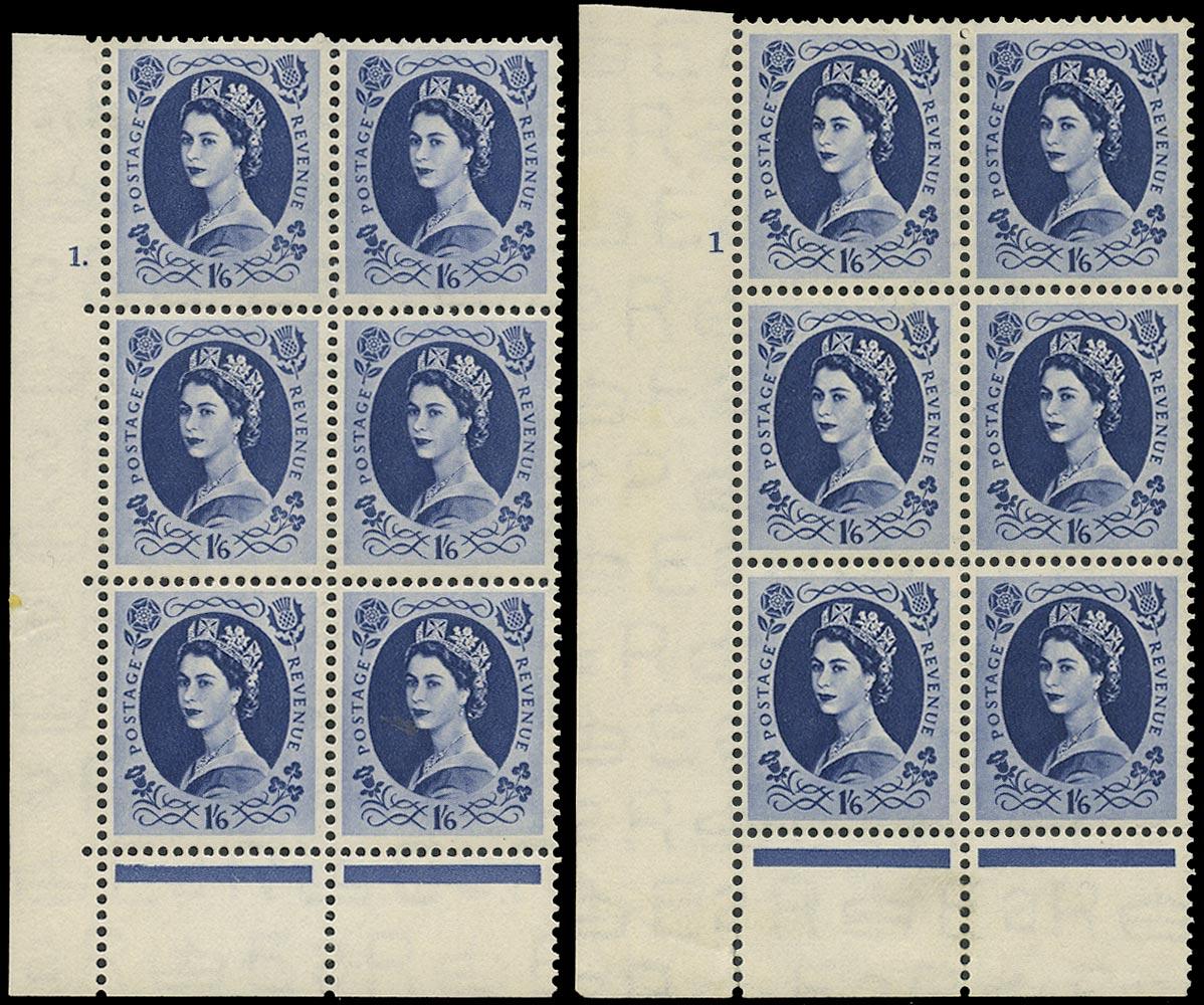 GB 1953  SG531 Mint - Cyl.1 'Dot' and 'No dot' Perf type B+C blocks of six