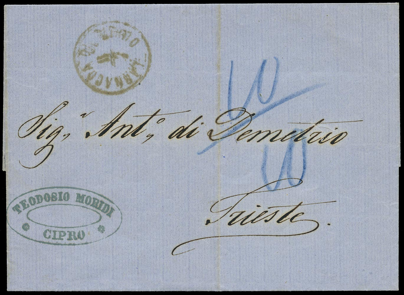 CYPRUS 1868 Cover from the Austrian Post Office at Larnaca to Trieste