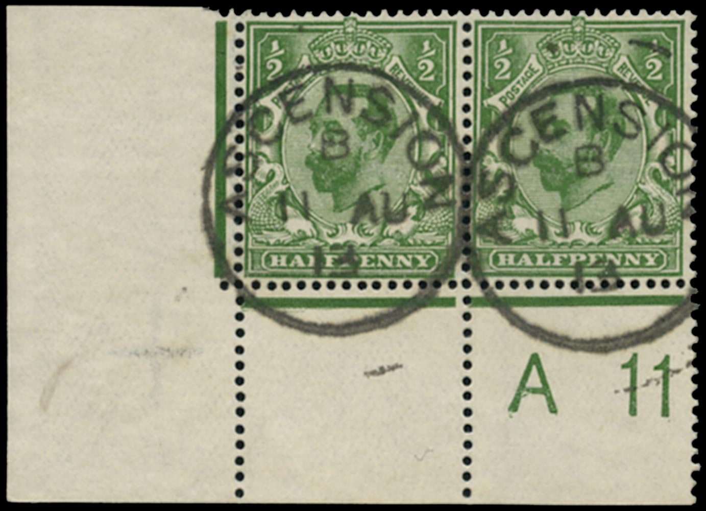 ASCENSION 1911  SGZ37 Cancel Great Britain used in Ascension