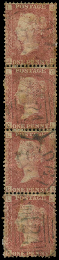 ADEN 1870 Cancel GB 1858-79 1d rose-red used with Aden 124 duplex