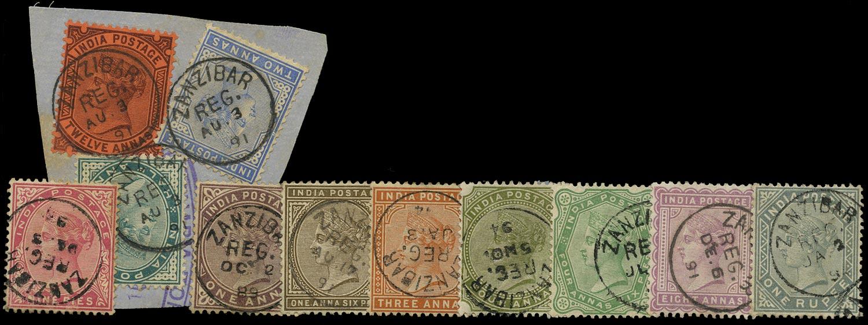 ZANZIBAR 1882  SGZ81/92 Cancel