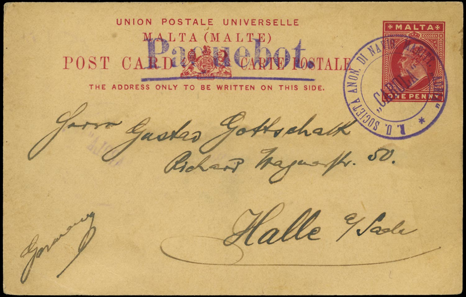MALTA 1913 Cover Paquebot to Germany used on Adria Line ship Carola
