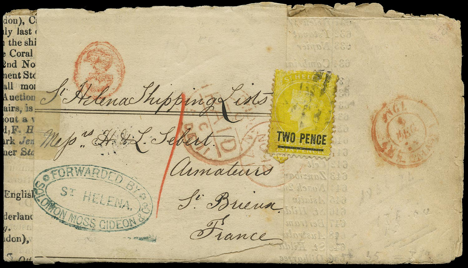 ST HELENA 1871  SG9 Cover printed circular to France with 2d yellow type B