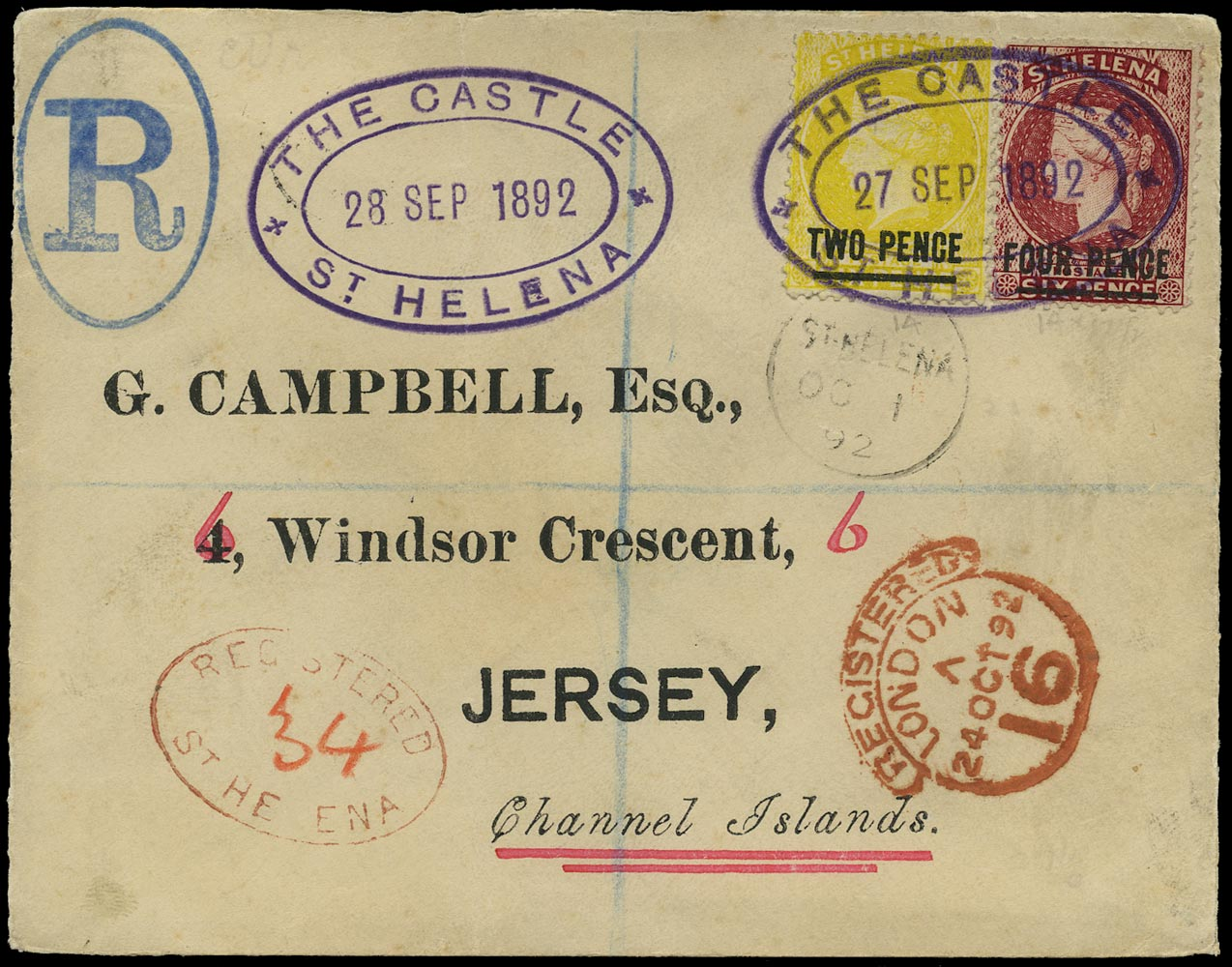 ST HELENA 1892  SG24, 39 Cover registered from The Castle to Jersey