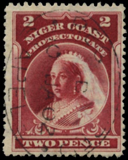 NIGER COAST 1897  SG68x Used QV 2d lake perf 13½-14 variety watermark reversed