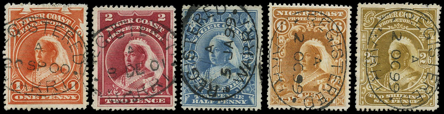 NIGER COAST 1897  SG67d/73 btwn Cancel 1d to 2s6d with Warri registered oval
