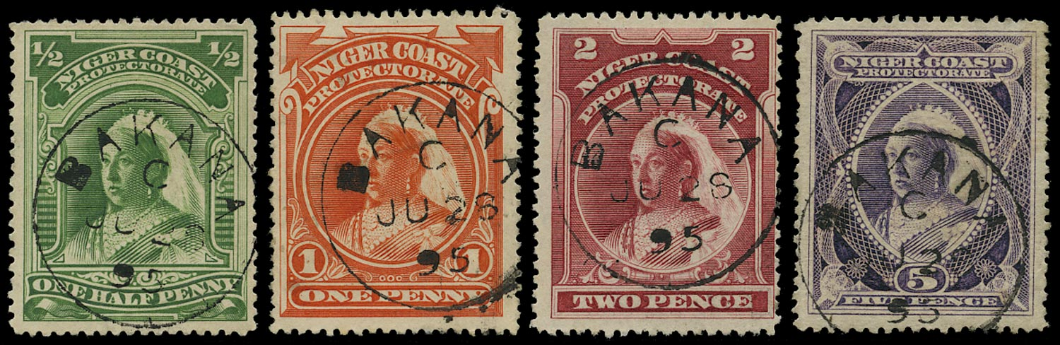 NIGER COAST 1894  SG51/55 btwn Cancel of Bakana on ½d, 1d, 2d, 5d