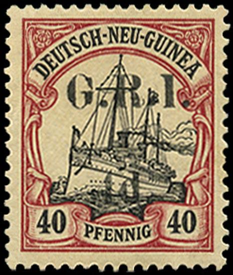 NEW GUINEA 1914  SG9 Mint 4d on 40pf black and carmine setting VI pos. 3