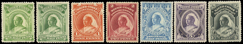 NIGER COAST 1894  SG51a/56 Mint QV no watermark set to 1s black