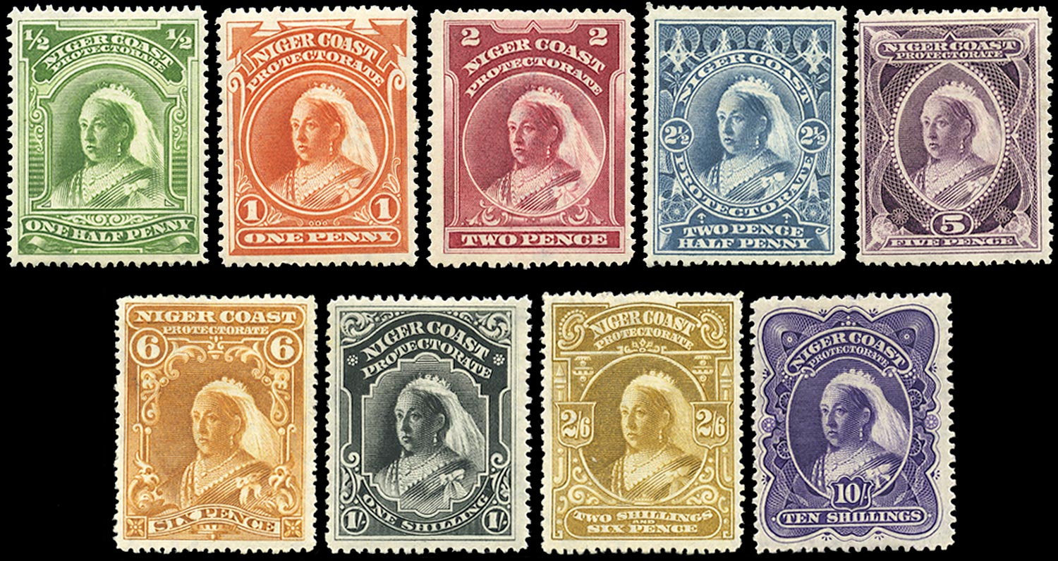 NIGER COAST 1897  SG66/74ba Mint QV watermark CA set of 9 to 10s