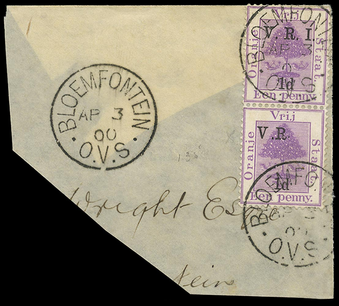 ORANGE FREE STATE 1900  SG102ga Used 1d on 1d purple error I omitted and raised stop after R